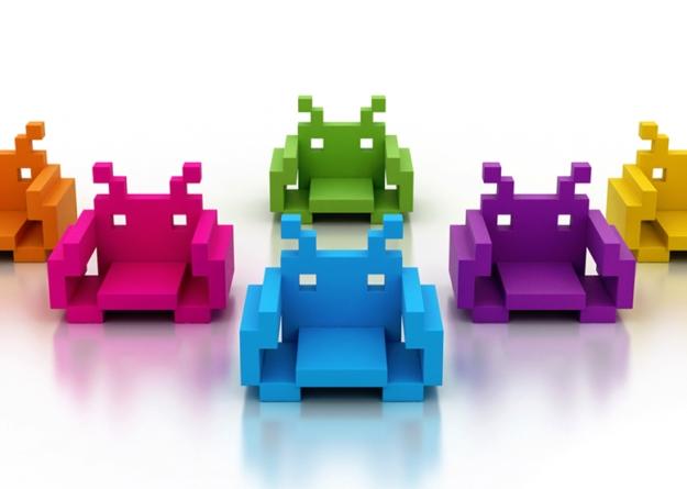Cadeiras Space Invaders.