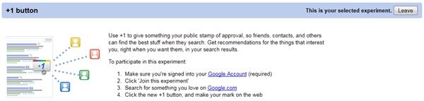 Notificação de que o Google +1 está habilitado