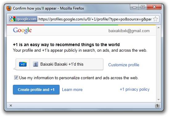 O Google +1 exige a sua confirmação antes de ser habilitado