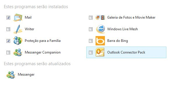 Opções do Windows Live Essentials
