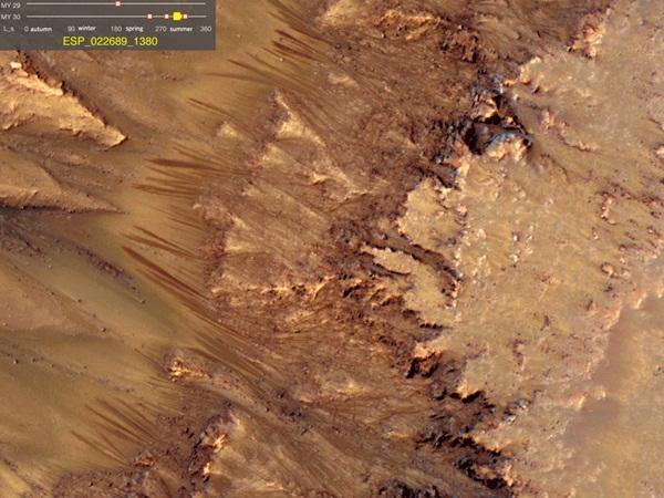 Água em estado líquido na superfície de Marte