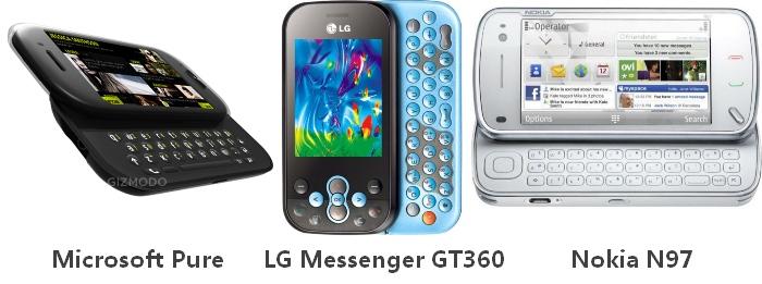 Comparação com o LG Messenger GT360 e o Nokia N97.