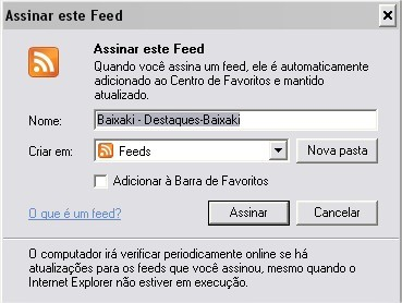 Confirme a assinatura do RSS Feed!