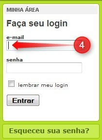 Posicione o cursor no campo de login