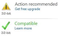O site informa o status de compatibilidade de software e hardware.