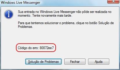 Este é o código do erro.