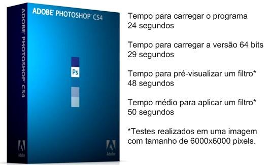 Resultados dos testes com o Photoshop CS4