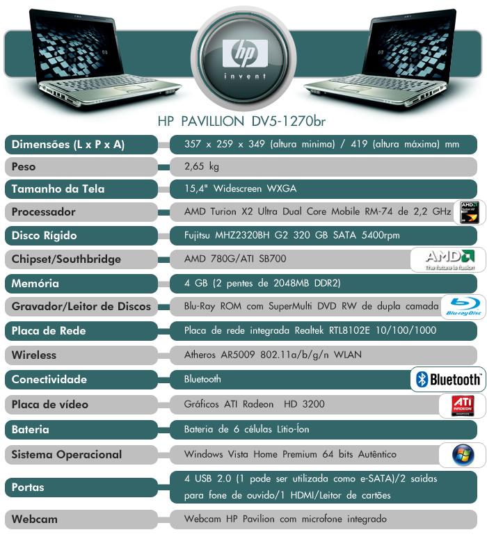 Especificações do HP Pavillion dv5-1270br