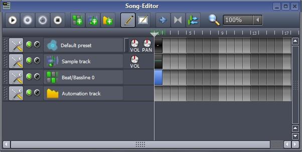 Use o Song Editor para compor suas faixas no LMMS.