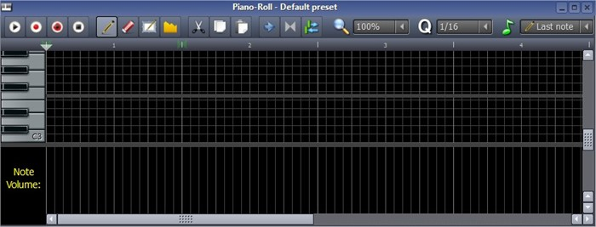 No Piano-Roll você pode desenhar as notas daquela faixa da música.
