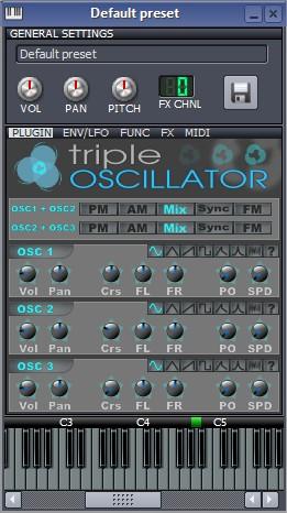 No Triple Oscilator você escolhe detalhes do som que está criando.