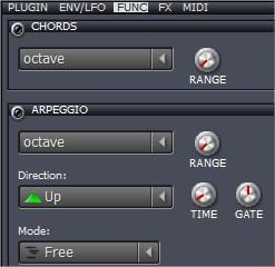 Na aba FUNC, você pode criar efeitos de acorde ou harpejo para aquele som.