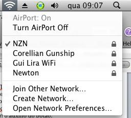 Redes disponíveis.