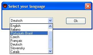 Selecione o idioma português.