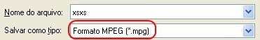 Escolha o formato através da extensão do arquivo.