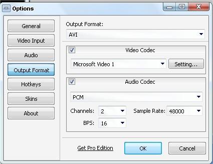 Configure as opções de gravação do seu vídeo!