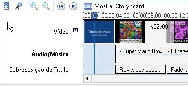 Um título inserido no início do clipe irá aparecer na mesma linha do tempo que os outros cipes.