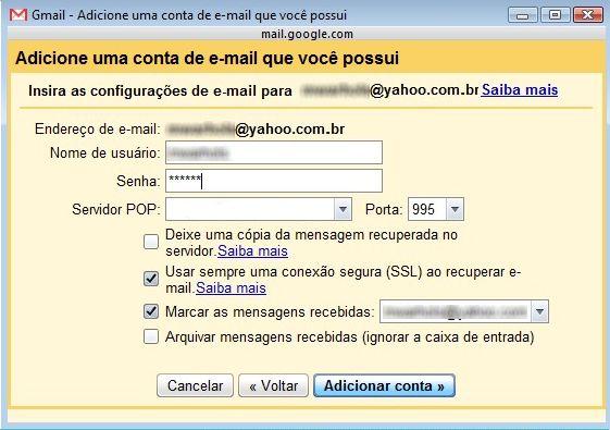 Insira as configurações do email