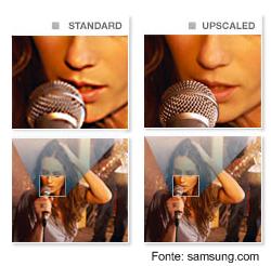 Comparação entre uma imagem normal e outra com a resolução aumentada artificialmente.