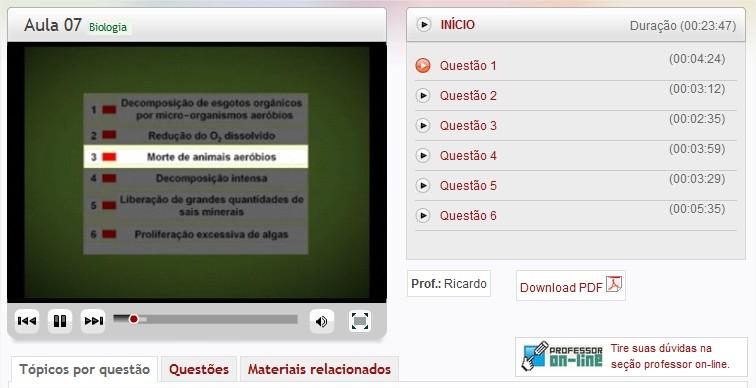 Além de vídeoaulas, com o Enem Tube você pode fazer download de textos complementares em PDF