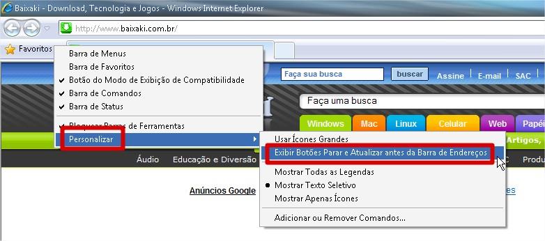 Clique nas opções indicadas para personalizar seu navegador!