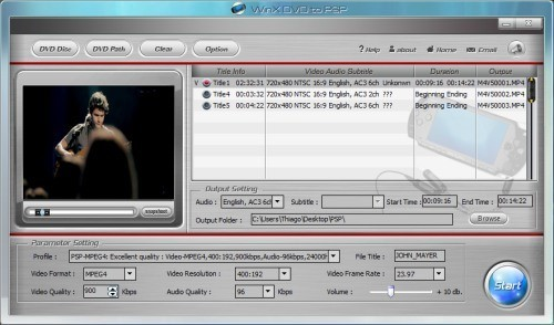 WinX Free DVD to PSP Ripper