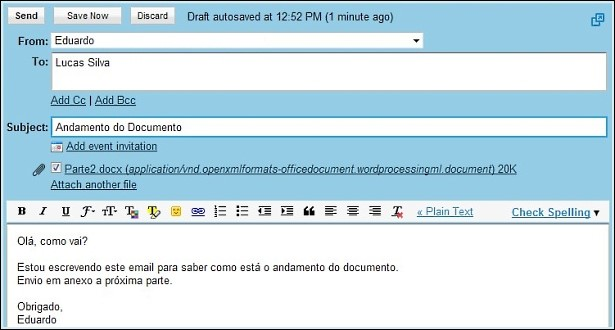 Exemplo de email.