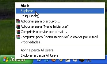 Use o menu iniciar para guardar links favoritos.