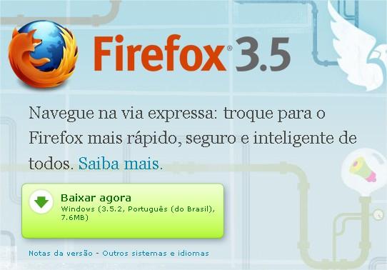 A Mozilla também sugere o download do seu navegador!