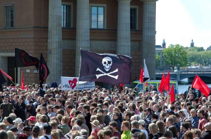 Demonstração pública do Partido Pirata na Suécia, por Jon Åslund.