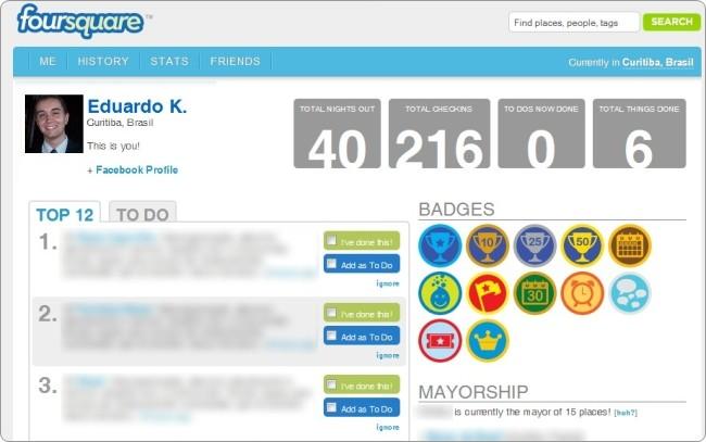 Um perfil no 4Square