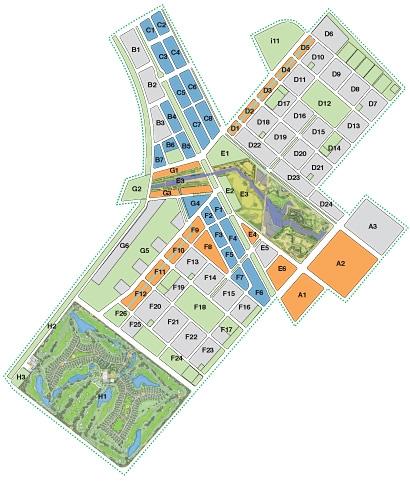 Áreas em verde representam espaços abertos e ecológicos.