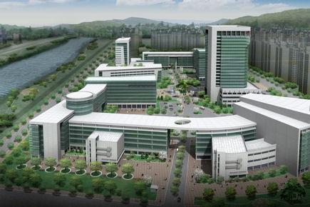 Projeção do hospital do distrito, que pode ser um dos mais avançados do mundo.