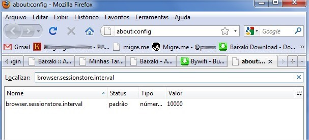 Escreva browser.sessionstore.interval no espaço apropriado.