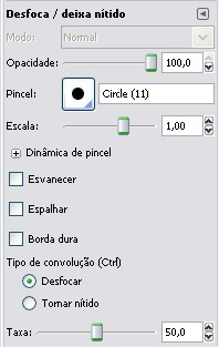 Utilize o menu de opções para configurar suas ferramentas