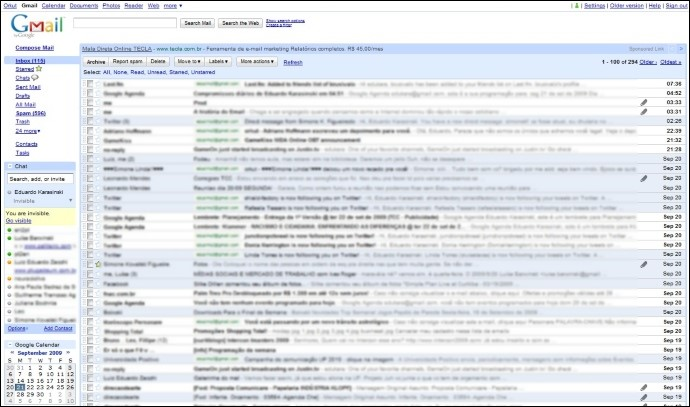 A interface completa do GMail.