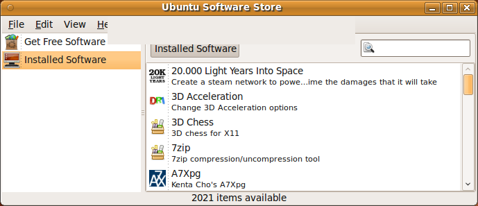 Ubuntu Software Store no Ubuntu 9.10