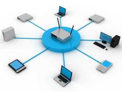 Rede sem-fio convencional, com um ponto de acesso comum