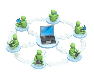 Computadores compartilhando uma rede comum