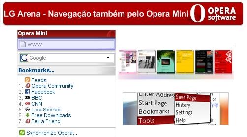 Opera Mini no LG Arena