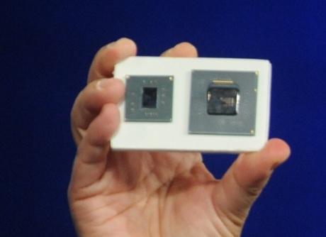 Demonstração do processador Atom, durante o evento da Intel