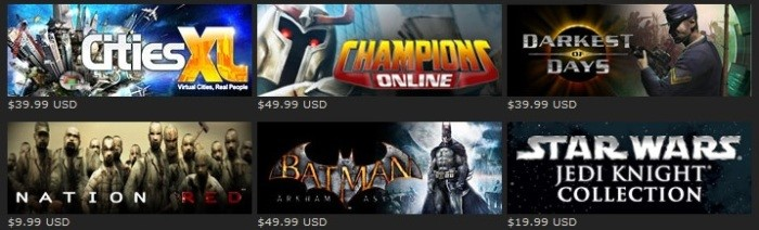 Jogos em preços variados dentro do Steam.