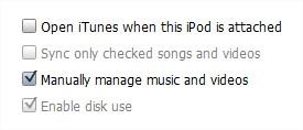 Deixe seu iPod configurado para sincronização manual.