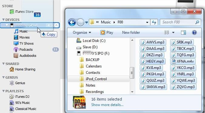 Arraste o conteúdo das pastas F## direto para o iPod no iTunes.