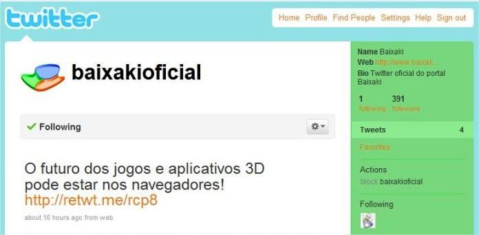 Página do Portal Baixaki no Twitter com exemplo de URL curta