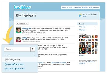 A Lista do Twitter em fase de testes