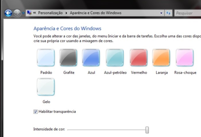 Personalize as cores do seu PC