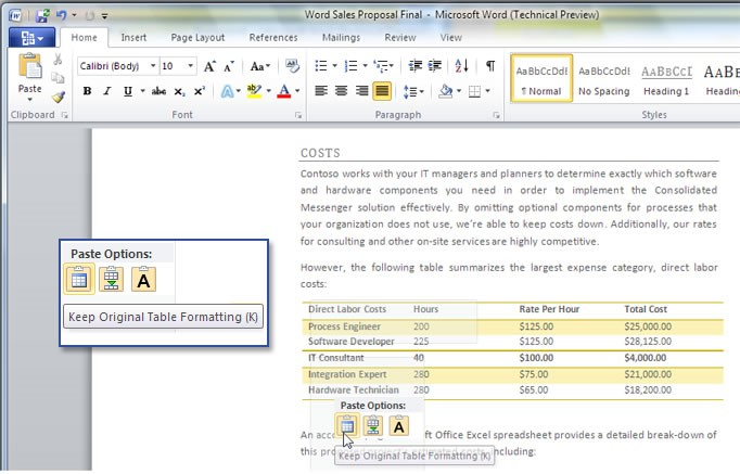 Nova interface do Microsoft Word 2010