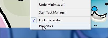 Altere as propriedades da barra de tarefas para completar a personalização.