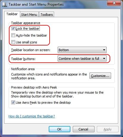 Altere as opções para deixar como as versões anteriores do Windows.